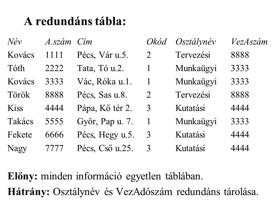 A redundáns tábla: Előny: minden információ egyetlen táblában.