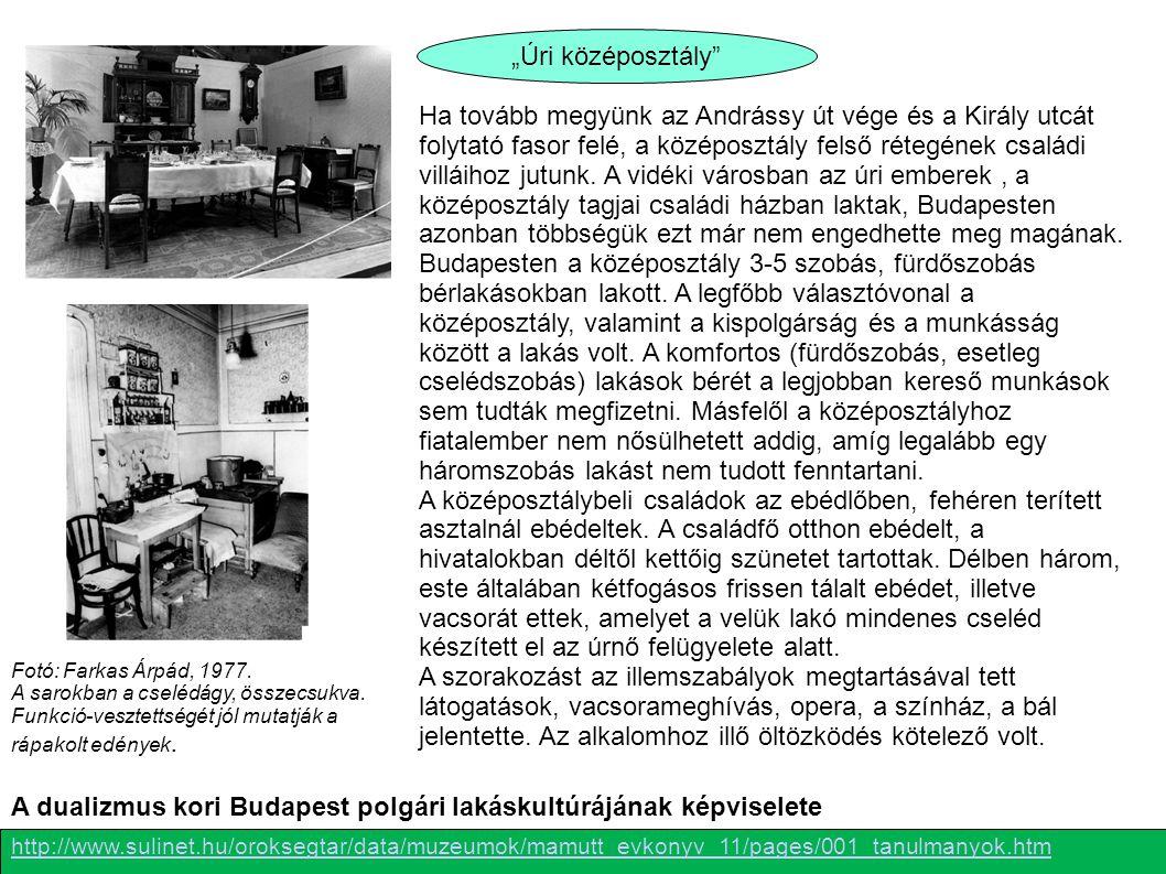 A dualizmus kori Budapest polgári lakáskultúrájának képviselete
