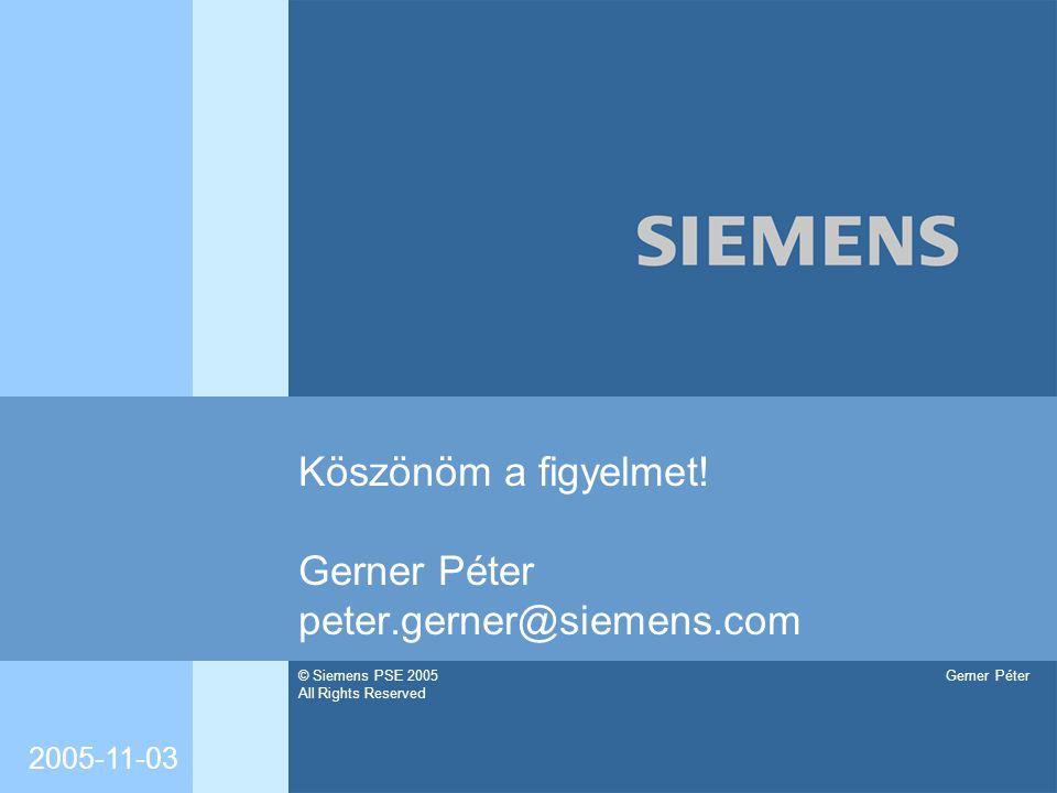 Köszönöm a figyelmet! Gerner Péter peter.gerner@siemens.com