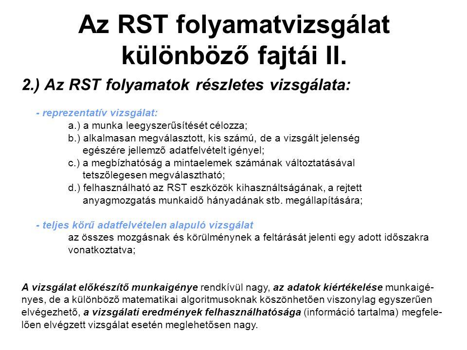 Az RST folyamatvizsgálat különböző fajtái II.