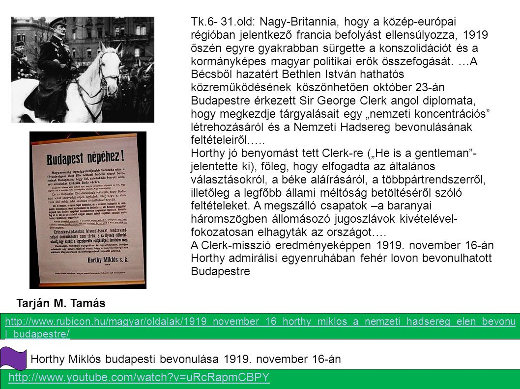 Horthy Miklós budapesti bevonulása 1919. november 16-án