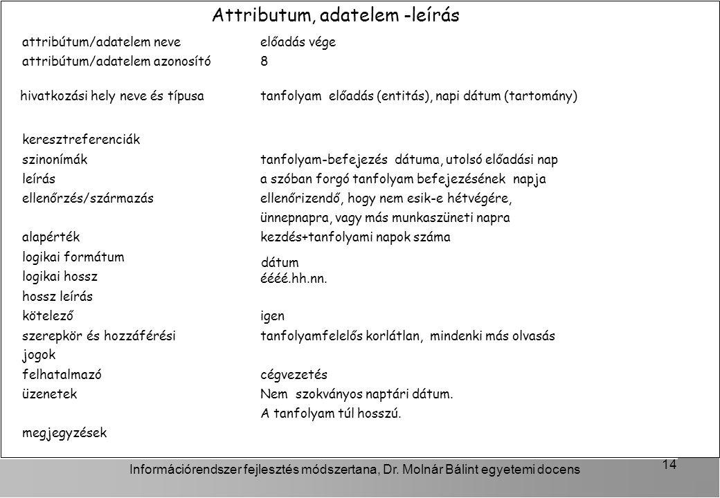 Attributum, adatelem -leírás