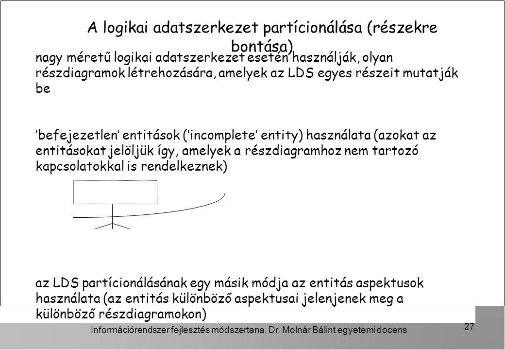 A logikai adatszerkezet partícionálása (részekre bontása)