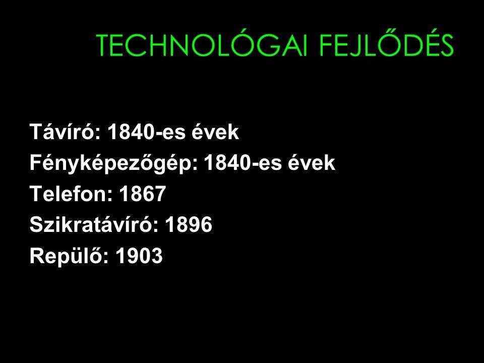 TECHNOLÓGAI FEJLŐDÉS Távíró: 1840-es évek Fényképezőgép: 1840-es évek