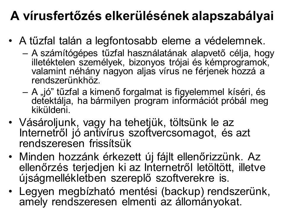 A vírusfertőzés elkerülésének alapszabályai