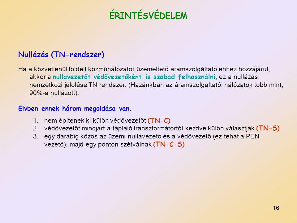 ÉRINTÉSVÉDELEM Nullázás (TN-rendszer)