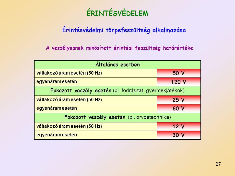 ÉRINTÉSVÉDELEM Érintésvédelmi törpefeszültség alkalmazása