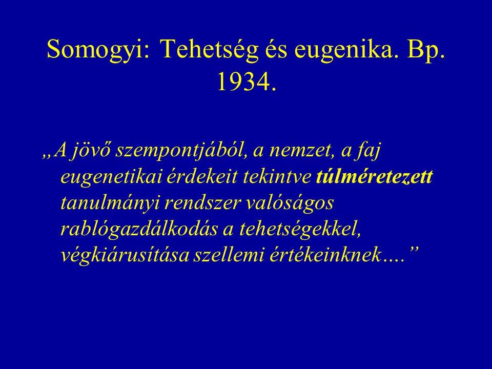 Somogyi: Tehetség és eugenika. Bp. 1934.