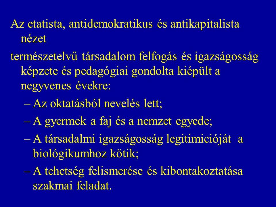 Az etatista, antidemokratikus és antikapitalista nézet