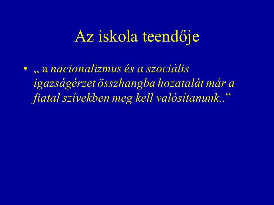 """Az iskola teendője """" a nacionalizmus és a szociális igazságérzet összhangba hozatalát már a fiatal szívekben meg kell valósítanunk.."""
