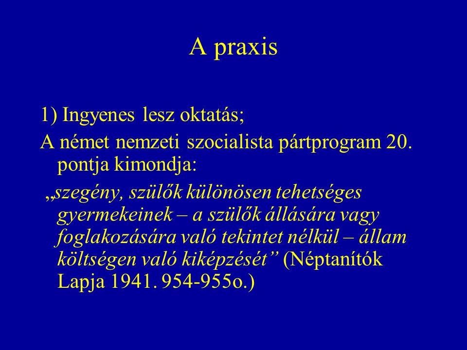 A praxis 1) Ingyenes lesz oktatás;