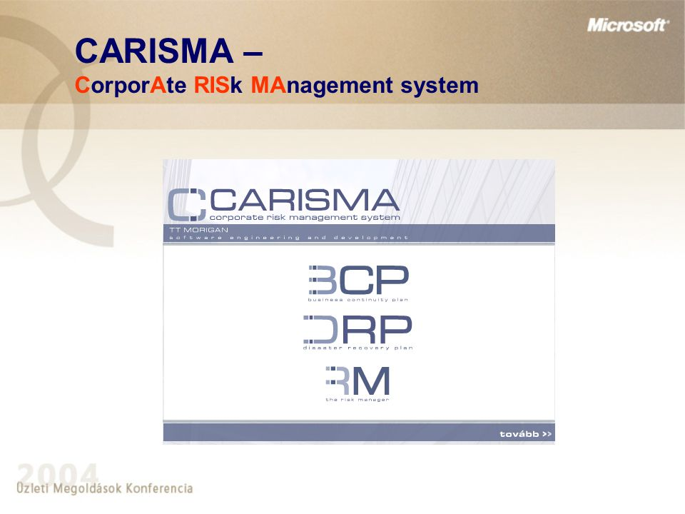 CARISMA – CorporAte RISk MAnagement system