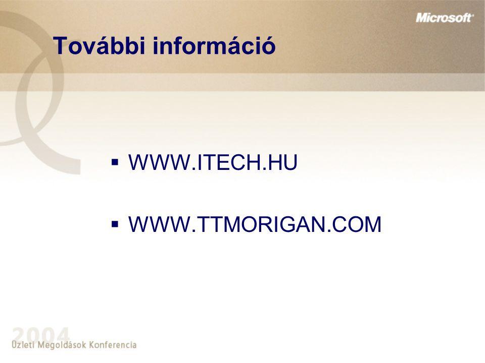 További információ WWW.ITECH.HU WWW.TTMORIGAN.COM