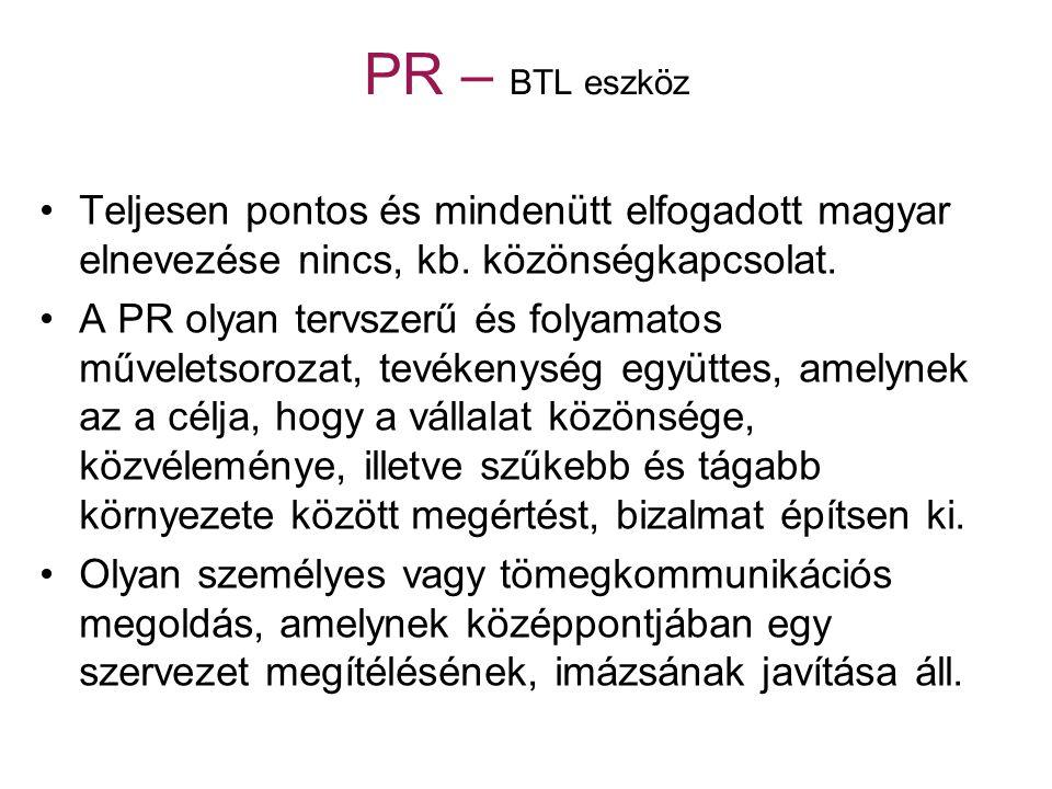 PR – BTL eszköz Teljesen pontos és mindenütt elfogadott magyar elnevezése nincs, kb. közönségkapcsolat.