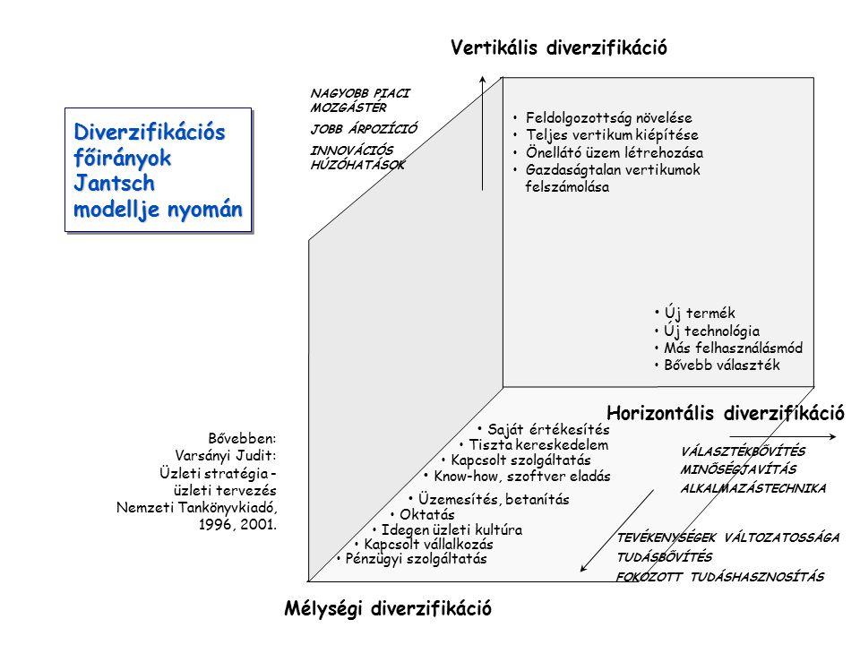 Diverzifikációs főirányok Jantsch modellje nyomán