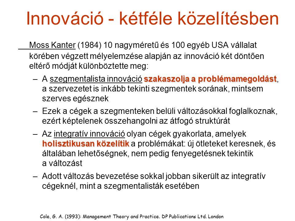 Innováció - kétféle közelítésben