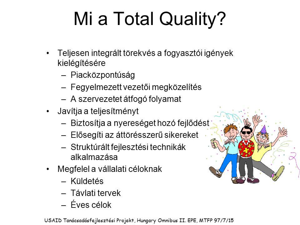 Mi a Total Quality Teljesen integrált törekvés a fogyasztói igények kielégítésére. Piacközpontúság.