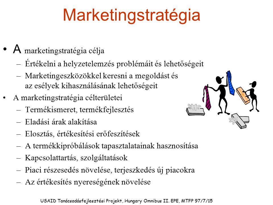 Marketingstratégia A marketingstratégia célja