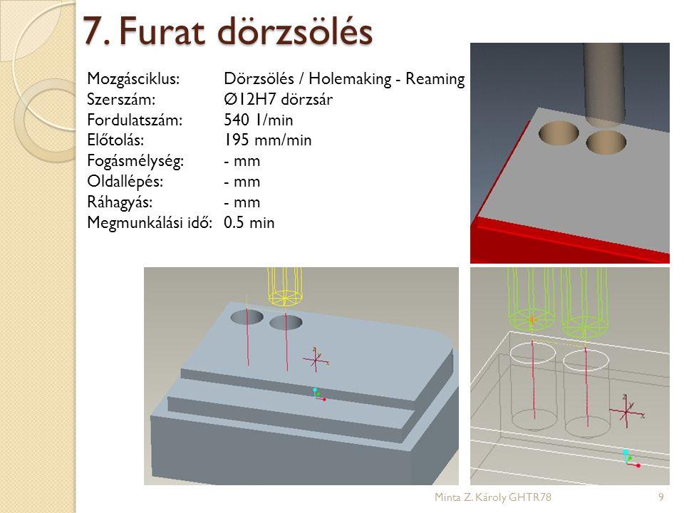 7. Furat dörzsölés Mozgásciklus: Dörzsölés / Holemaking - Reaming