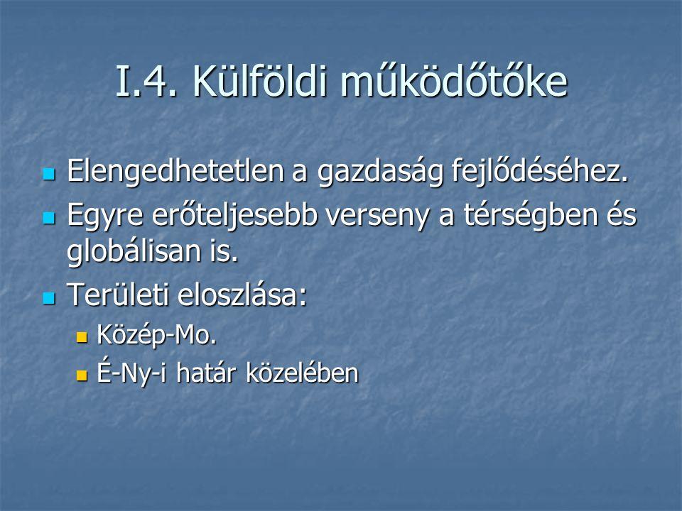 I.4. Külföldi működőtőke Elengedhetetlen a gazdaság fejlődéséhez.
