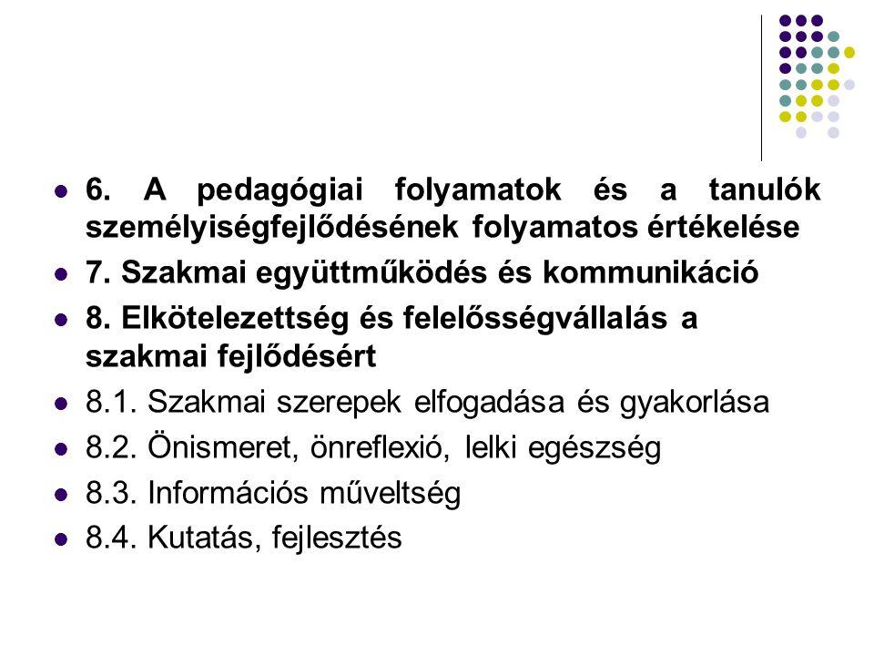 6. A pedagógiai folyamatok és a tanulók személyiségfejlődésének folyamatos értékelése