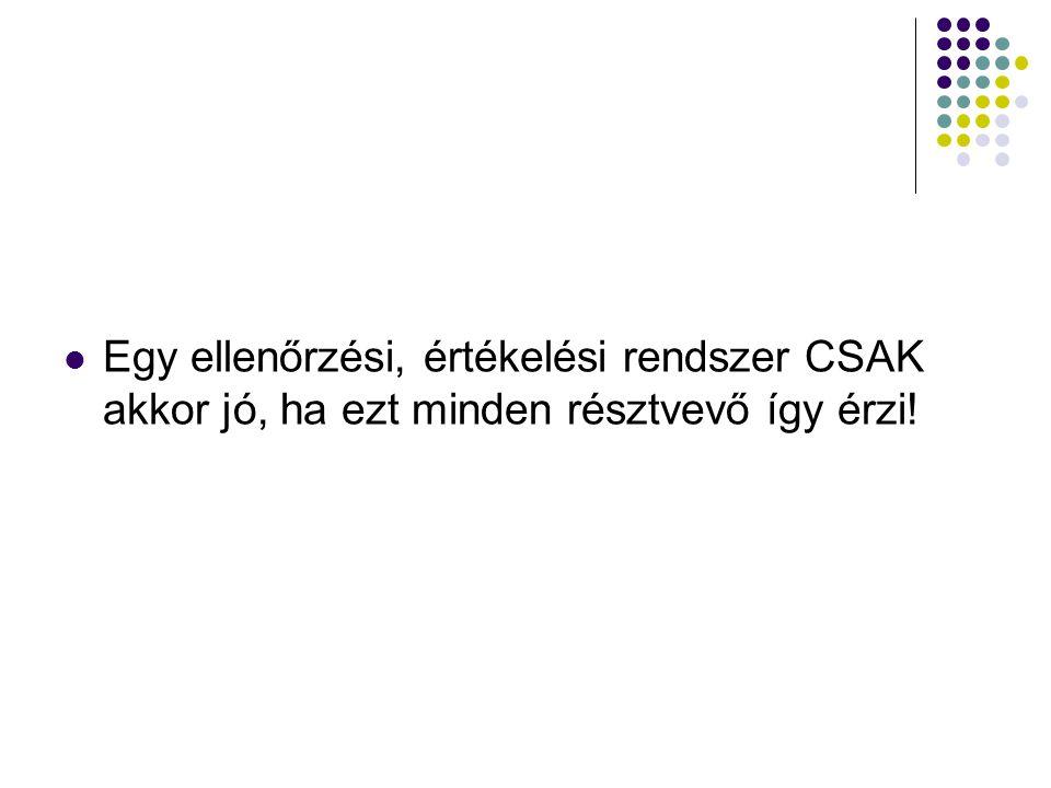 Egy ellenőrzési, értékelési rendszer CSAK akkor jó, ha ezt minden résztvevő így érzi!