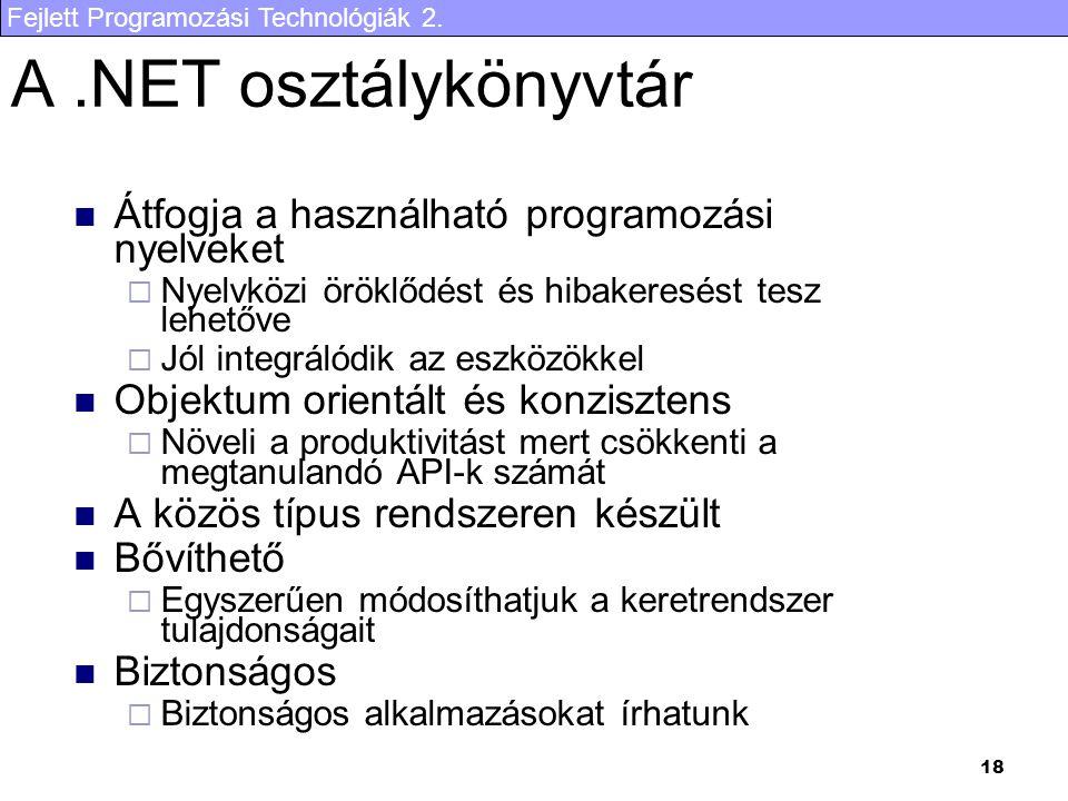 A .NET osztálykönyvtár Átfogja a használható programozási nyelveket