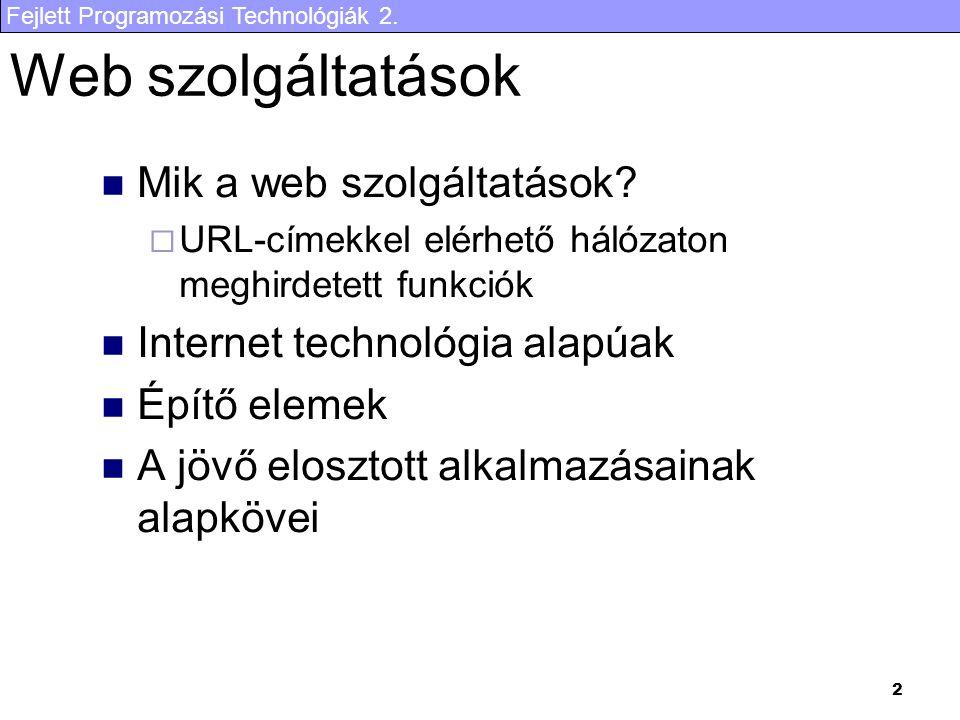 Web szolgáltatások Mik a web szolgáltatások