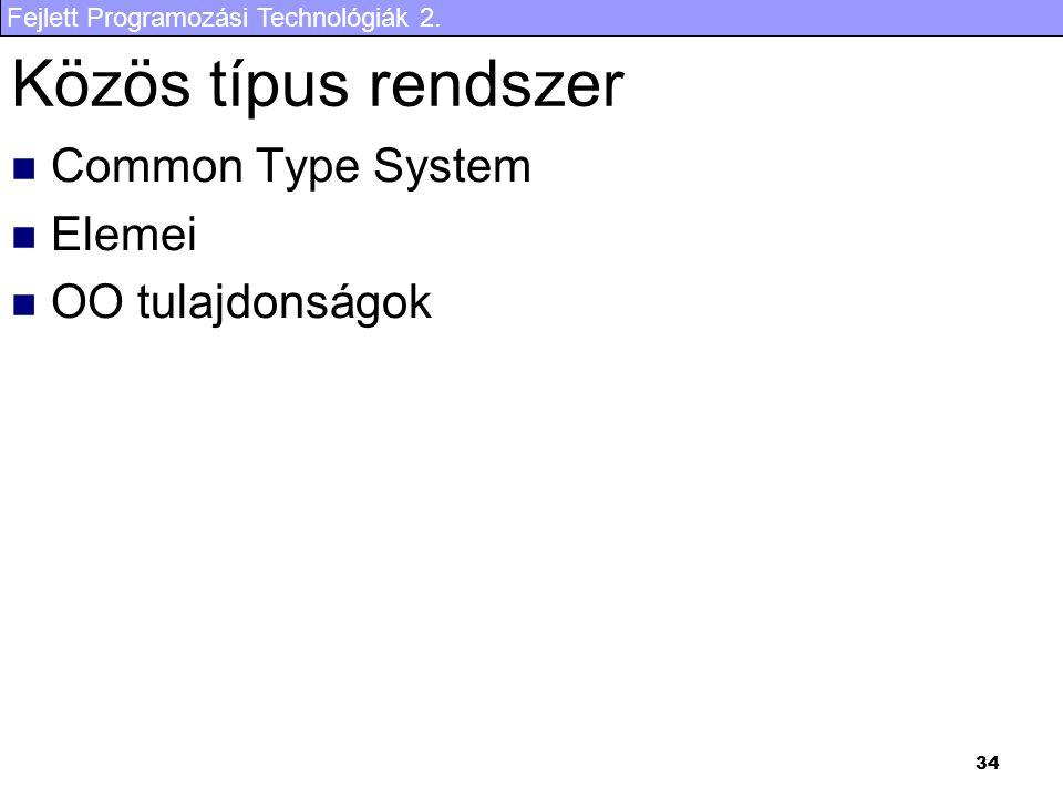 Közös típus rendszer Common Type System Elemei OO tulajdonságok