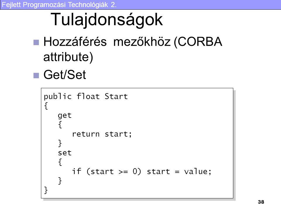 Tulajdonságok Hozzáférés mezőkhöz (CORBA attribute) Get/Set