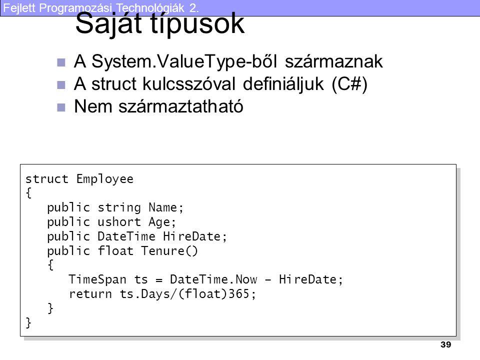Saját típusok A System.ValueType-ből származnak