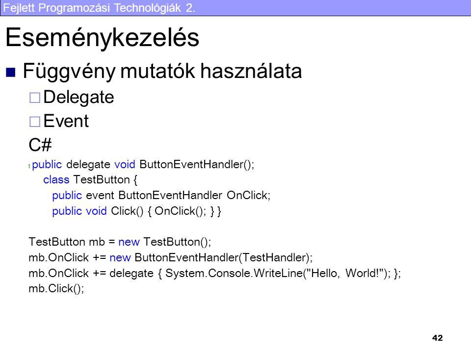 Eseménykezelés Függvény mutatók használata Delegate Event C#