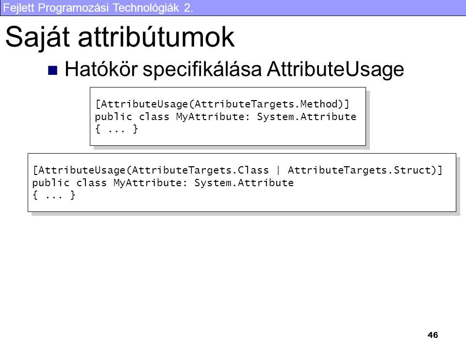Saját attribútumok Hatókör specifikálása AttributeUsage