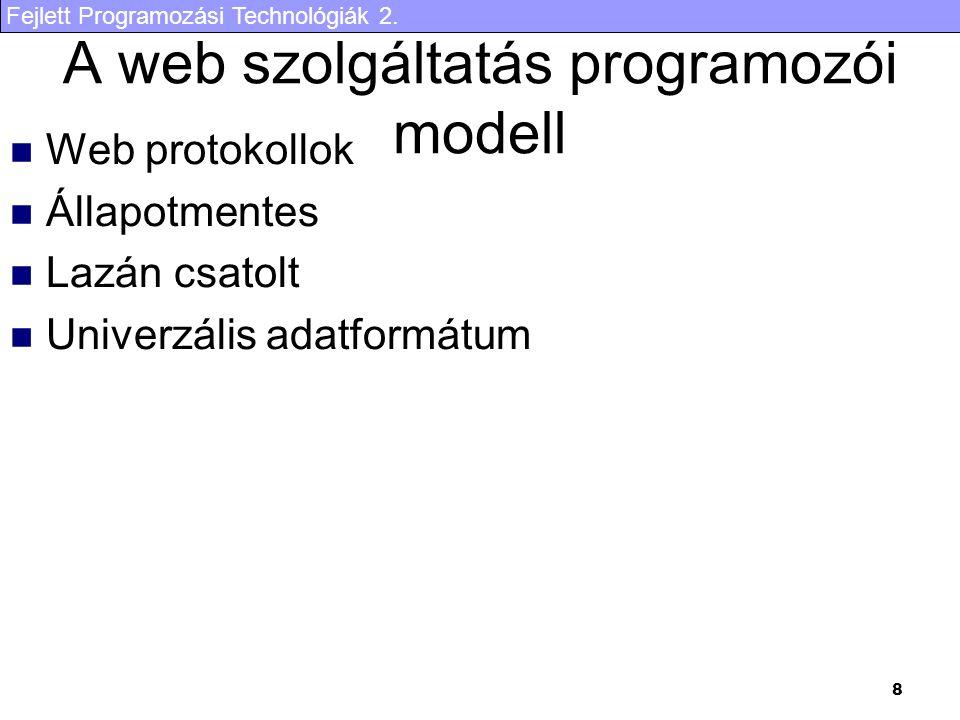 A web szolgáltatás programozói modell