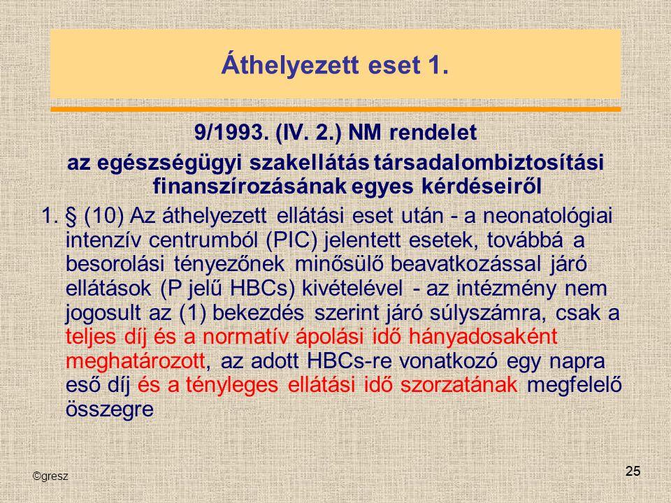 Áthelyezett eset 1. 9/1993. (IV. 2.) NM rendelet