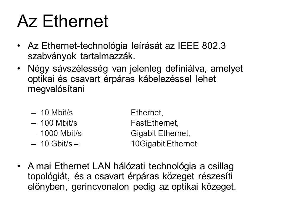 Az Ethernet Az Ethernet-technológia leírását az IEEE 802.3 szabványok tartalmazzák.