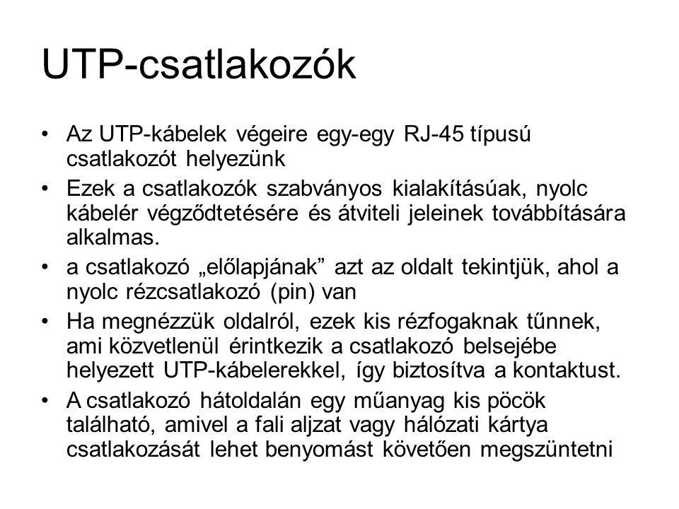 UTP-csatlakozók Az UTP-kábelek végeire egy-egy RJ-45 típusú csatlakozót helyezünk.
