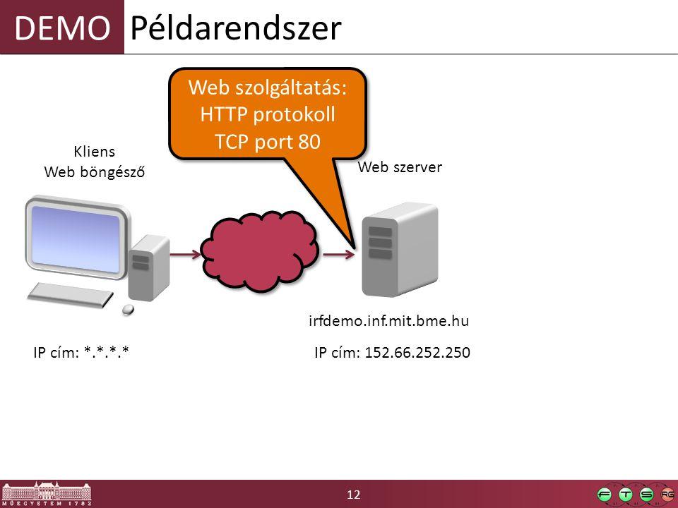 Példarendszer Web szolgáltatás: HTTP protokoll TCP port 80 Kliens