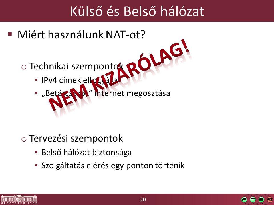 Nem kizárólag! Külső és Belső hálózat Miért használunk NAT-ot