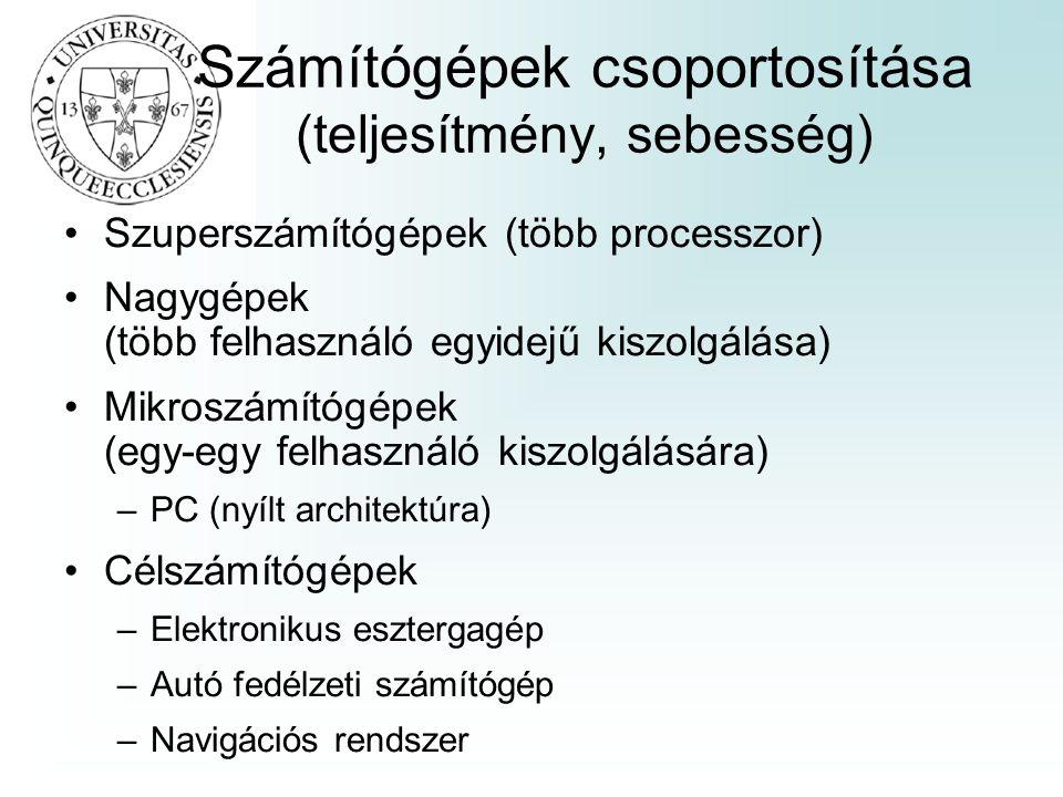 Számítógépek csoportosítása (teljesítmény, sebesség)