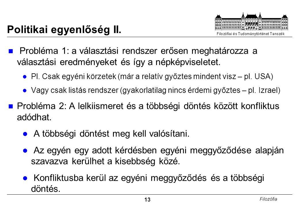 Politikai egyenlőség II.