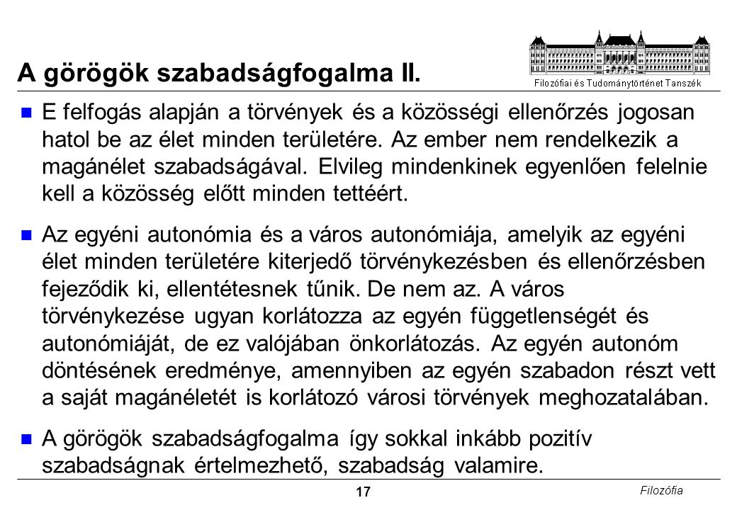 A görögök szabadságfogalma II.