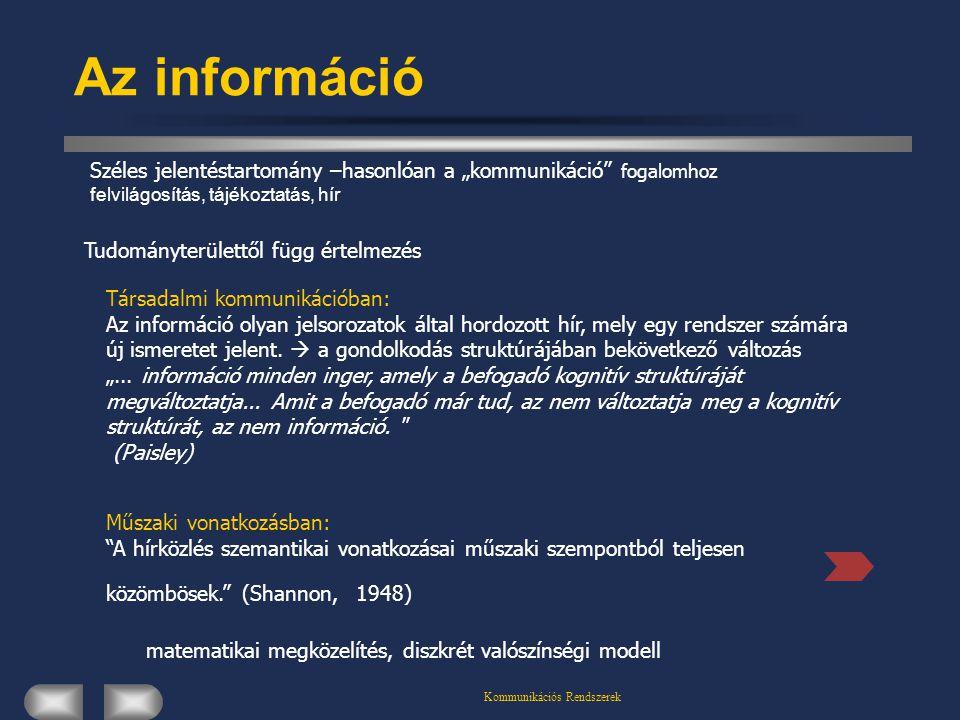 """Az információ Széles jelentéstartomány –hasonlóan a """"kommunikáció fogalomhoz felvilágosítás, tájékoztatás, hír."""