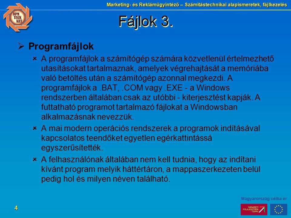 Fájlok 3. Programfájlok.