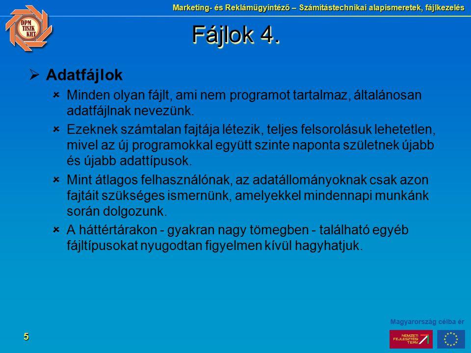 Fájlok 4. Adatfájlok. Minden olyan fájlt, ami nem programot tartalmaz, általánosan adatfájlnak nevezünk.