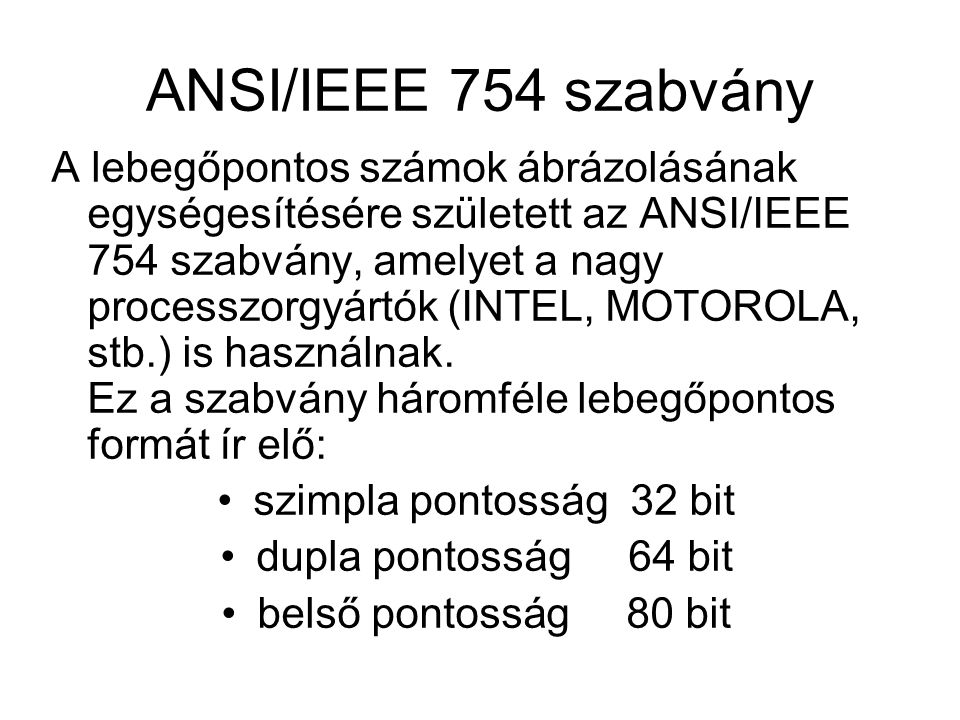 ANSI/IEEE 754 szabvány