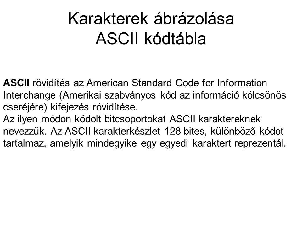 Karakterek ábrázolása ASCII kódtábla