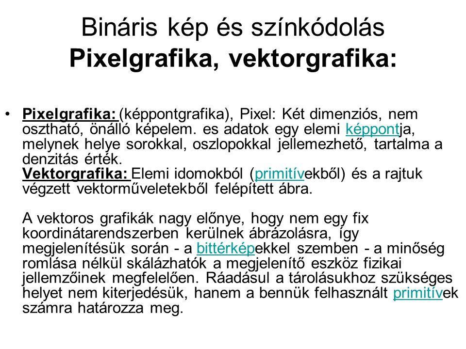 Bináris kép és színkódolás Pixelgrafika, vektorgrafika: