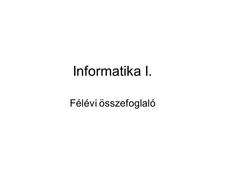 Informatika I. Félévi összefoglaló