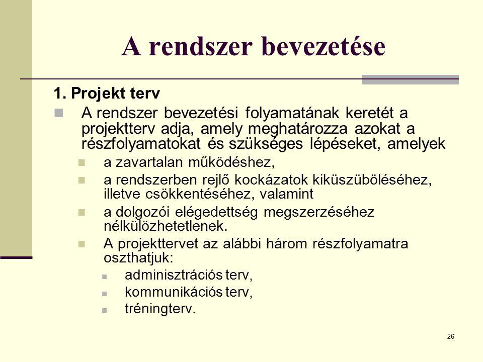 A rendszer bevezetése 1. Projekt terv